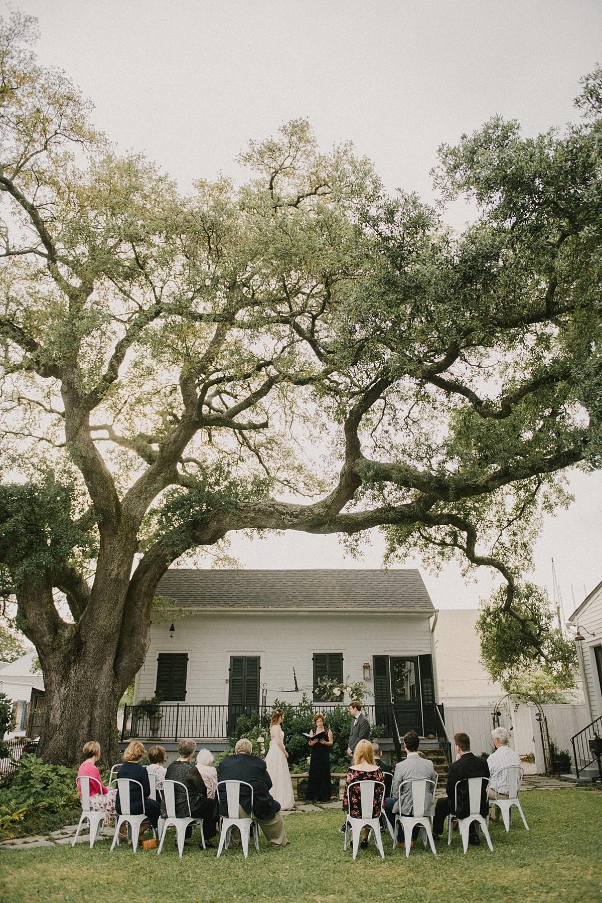 A stunning backyard Bywater Wedding at Mazant House.