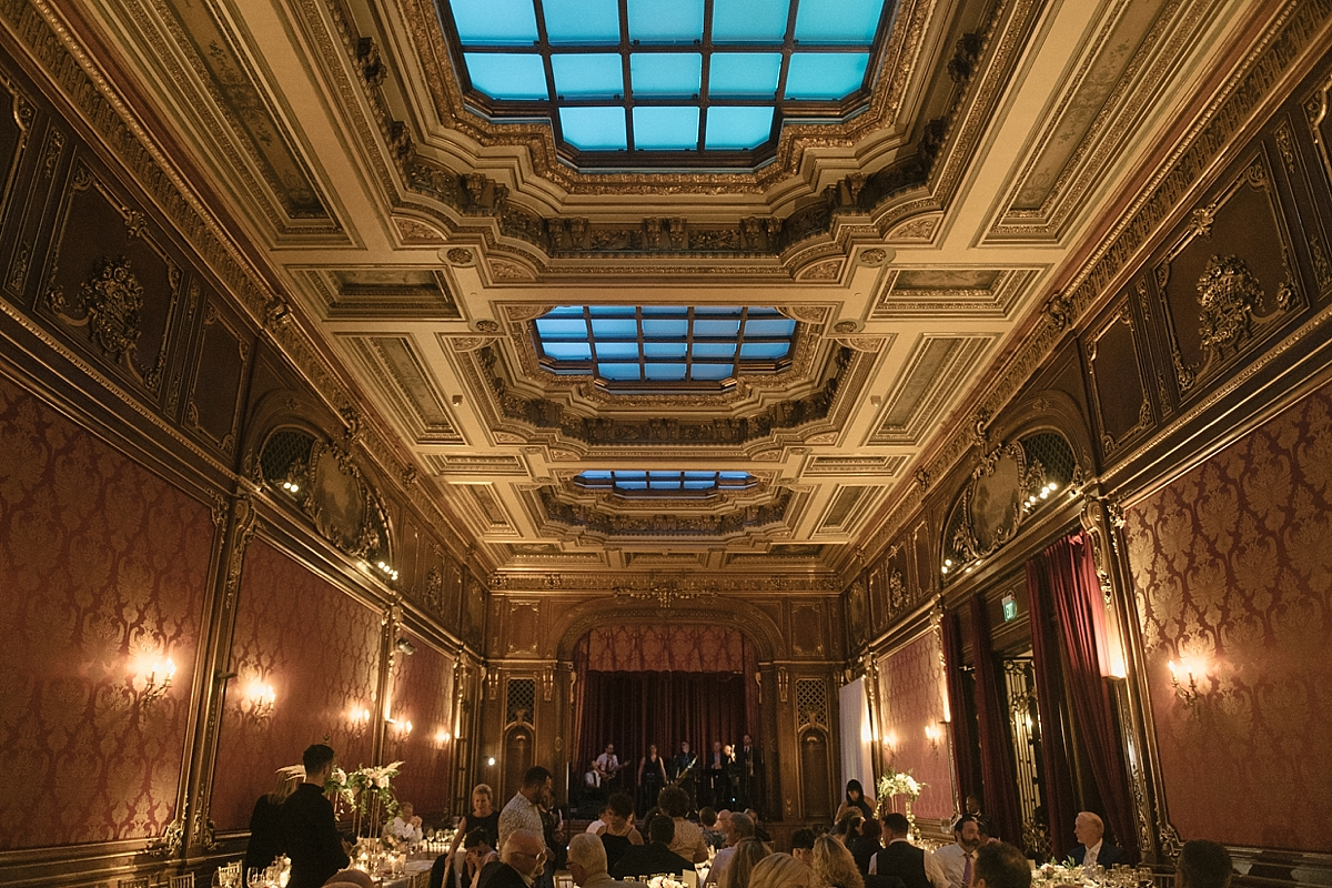 The stunning interior of scarlet and Joe's reception at the Baltimore Engineers Club.