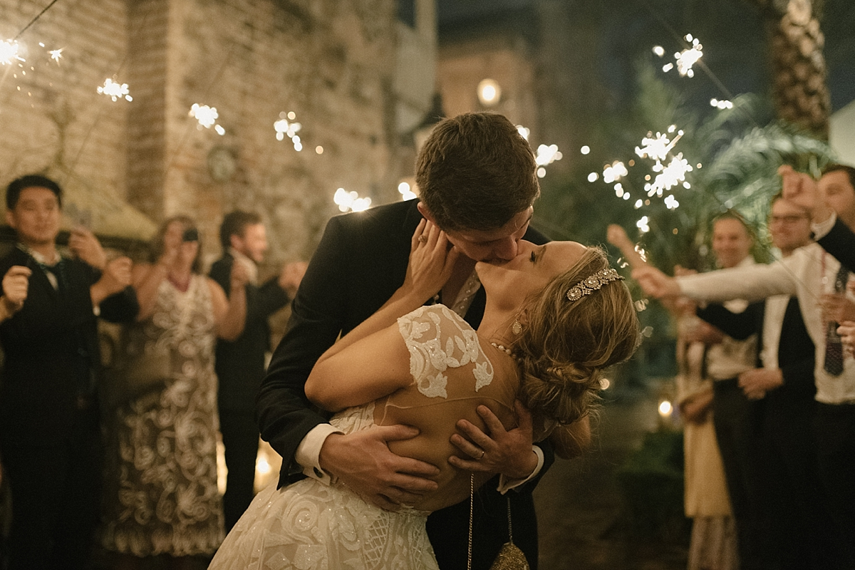 As Anna and Oli walked down their sparkler exit, Oli dipped Anna and went in for a final kiss.