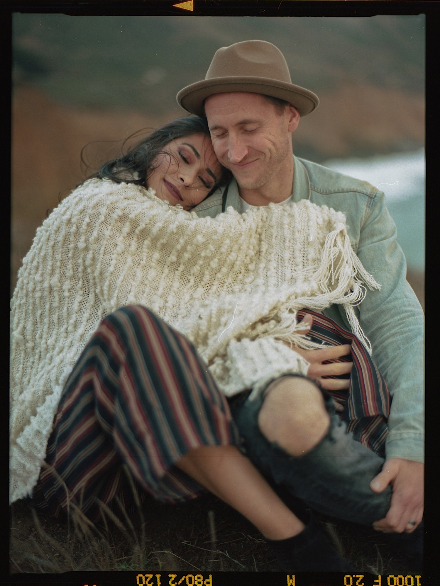 Ilyssa and Kyle keeping each other warm on the cliffs during their Mori Point Couples Session.