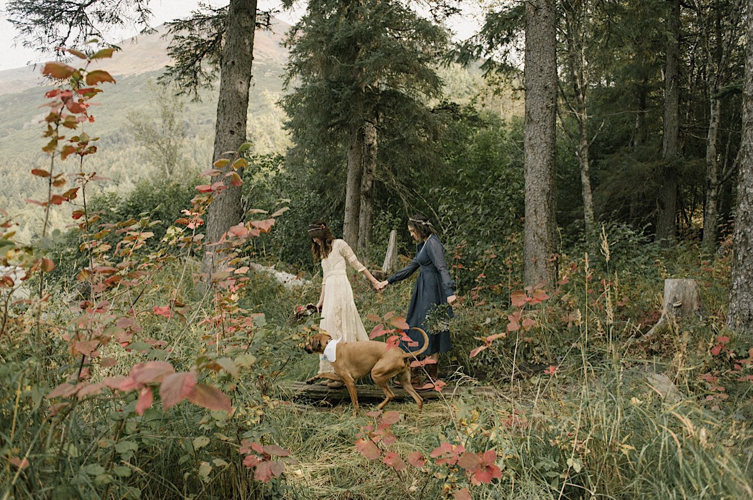 Carol and Julie walk through the forest right before they head to their intimate alaska wedding.