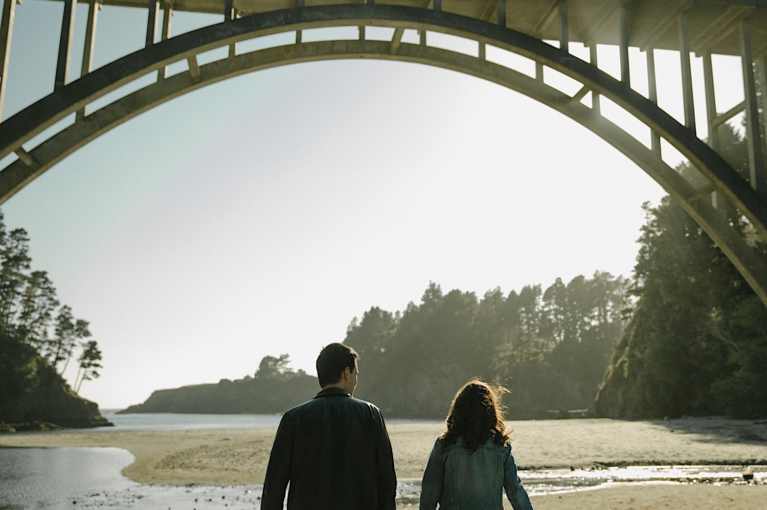 Vanessa and Adam walk along Russian Gulch Beach for their Mendocino Engagement Session.