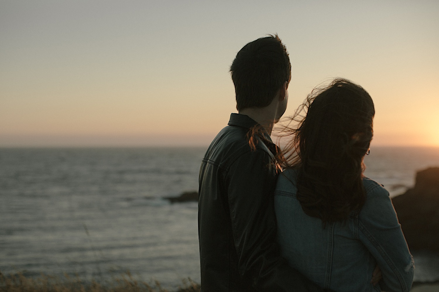 Adam and Vanessa enjoy sunset on the mendocino headlands trail for their mendocino engagement session.